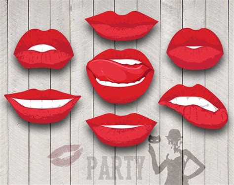 lips digital clipart printable diy photo booth items similar to lips party digital clip art for