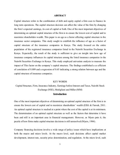 research paper on capital structure research paper capital structure pdf