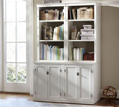 bookcase with doors logan bookcase with doors pottery barn