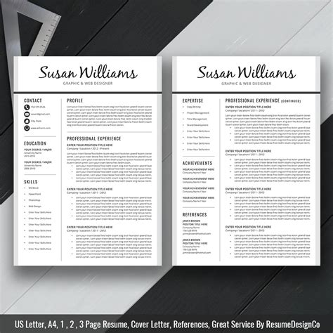 Two Page Resume Template by Instant The Susan Resume Resumedesignco