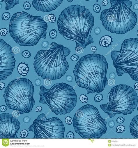 seamless pattern sketch vector seamless pattern sketch of seashells on blue