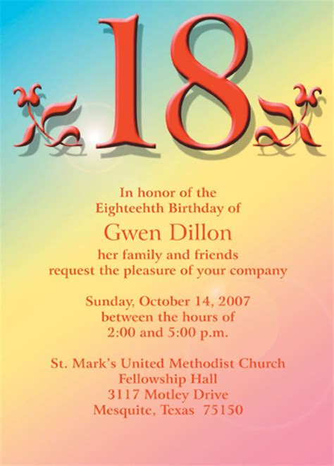 18th birthday card template 18 birthday invitation templates 18th birthday