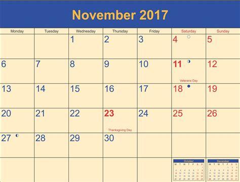 Thanksgiving Calendar November 2017 Calendar Thanksgiving Printable Template
