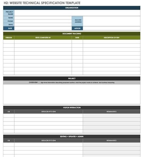 free technical specification templates smartsheet