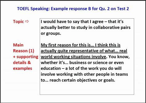 toefl writing section exles toefl speaking question 2 exle answer with script