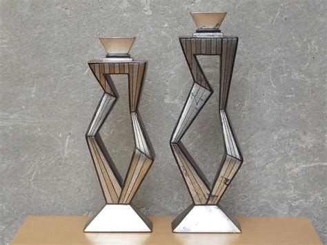 Mid Century Modern Home Decor by Pair Contemporary Large Metallic Ceramic Candle Holders By