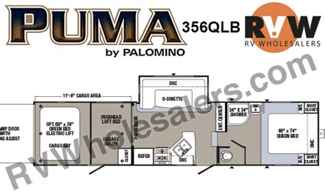 puma toy hauler floor plans 2017 palomino puma 356qlb toy hauler fifth wheel the
