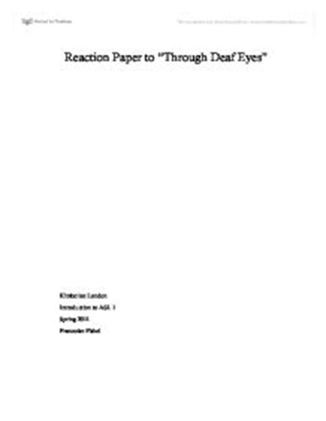 Through Deaf Essay by Reflection Paper On Quot Through Deaf Quot Miscellaneous Marked By Teachers