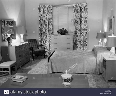1950s bedroom 1950s bedroom interior with floor length floral curtains