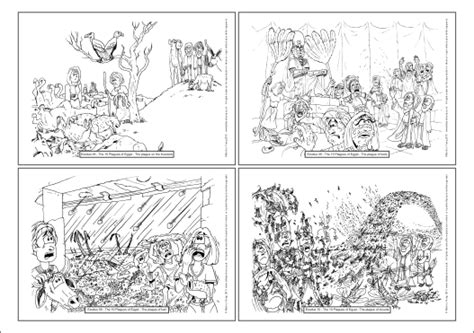 Bible Cartoons Exodus 07 12 Ten Plagues Of Egypt A4 Moses And The Plagues Coloring Pages