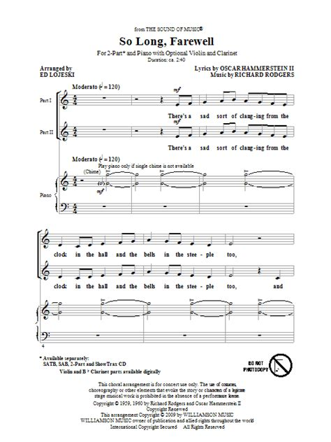 printable lyrics sound of music so long farewell from the sound of music sheet music