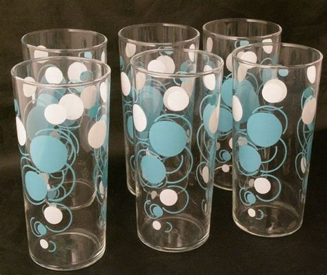 Modern Bar Glassware Retro Glasses Blue White Polka Dot Bar Set Mid