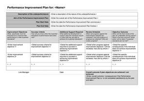 Performance Plan Template by 41 Free Performance Improvement Plan Templates Exles