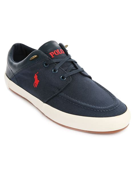 polo ralph navy blue leather canvas jerred sneakers