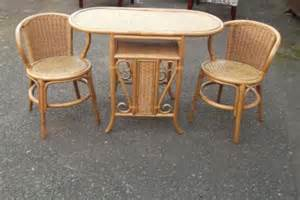 Rattan Kitchen Table And Chairs Small Kitchen Wicker Table And 2 Chair Set Antique Saleroom