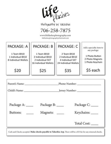 youth sports photography templates youth sports photography order form choose packages and