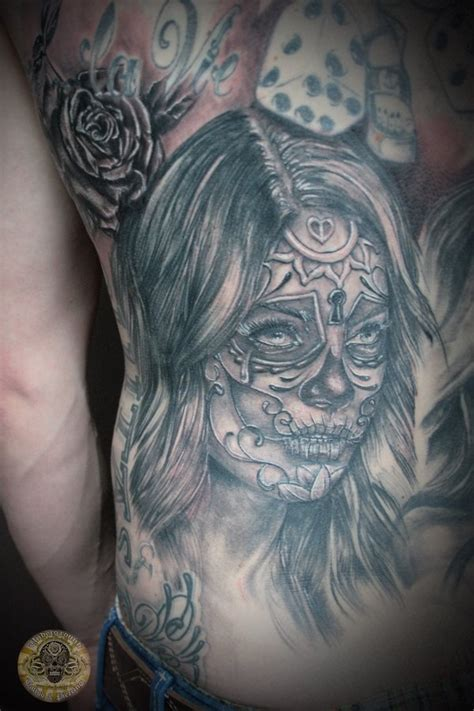 santa muerte tattoos designs santa muerte part back by 2face on deviantart