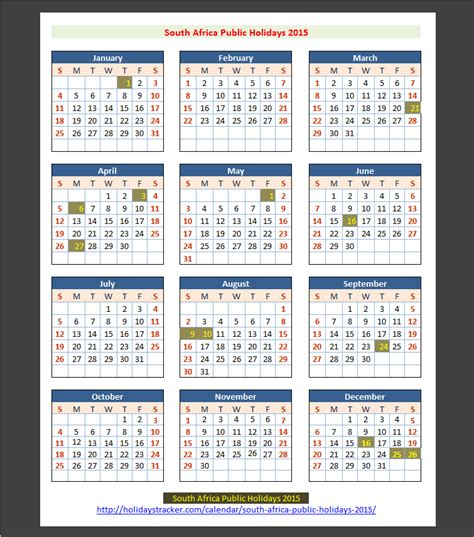 printable calendar 2015 south africa with public holidays south africa public holidays 2015 holidays tracker