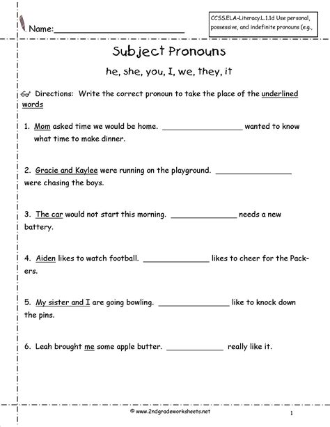 Subject Pronouns Worksheet by Pronouns Nouns Worksheets From The S Guide