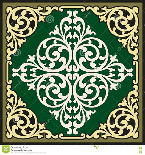 vintage ornamental pattern vector vintage border frame logo engraving with retro