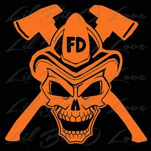 Helm Sticker Feuerwehr by Firefighter Skull Vinyl Decal With Cross Axes And Fire