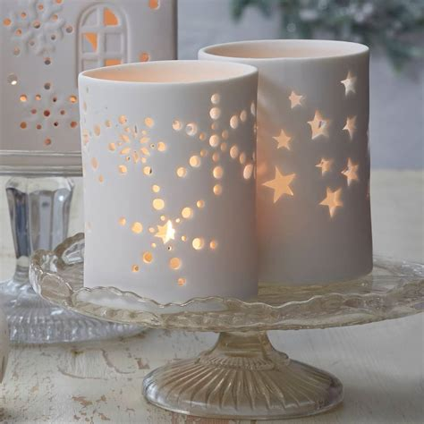 matt white christmas tea light holder by the christmas