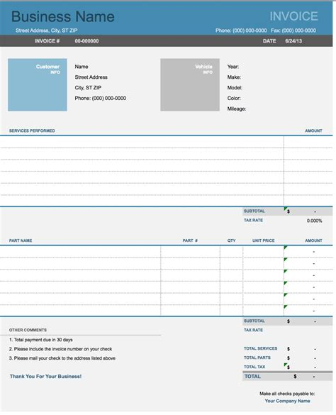 Free Auto (Body) Repair Invoice Template   Excel   PDF