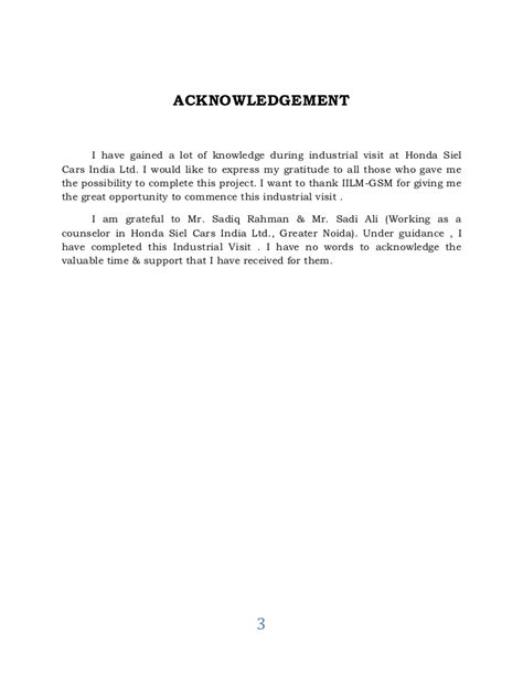 Acknowledgement Letter Format For Industrial Visit A Report On Industrial Visit To Honda Motors Dilip
