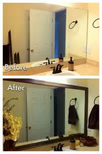 Diy Bathroom Miscellanea Etcetera Diy Bathroom Mirror Frame For Less