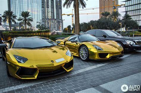 gold porsche truck gold porsche 918 spider and aventador supercars all day