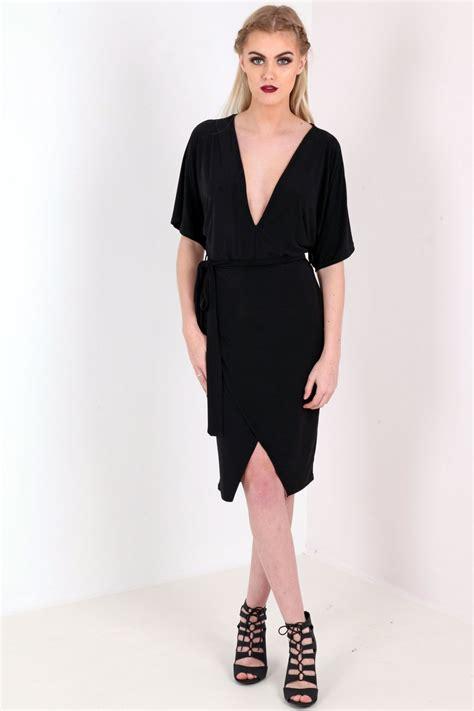 Tie Waist Sleeve Dress kimono sleeve tie waist plunge mini dress from premier glam
