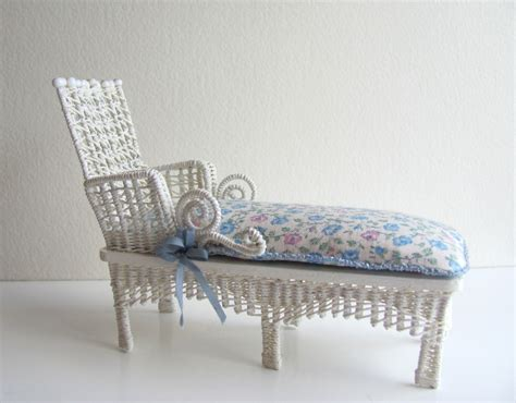 white wicker chaise lounge white cottage chic wicker chaise lounge 1 12 miniature