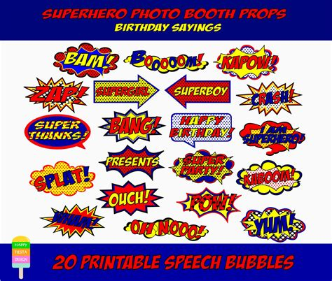 printable superhero quotes printable superhero photo booth props comic book speech