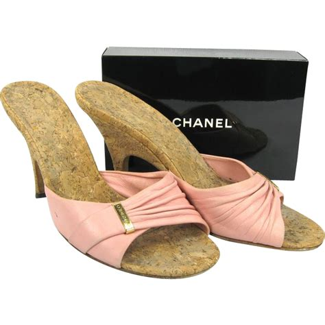 vintage chanel shoes pink slides mules size 37 from
