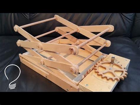 homemade scissor lift using wooden gears engineering