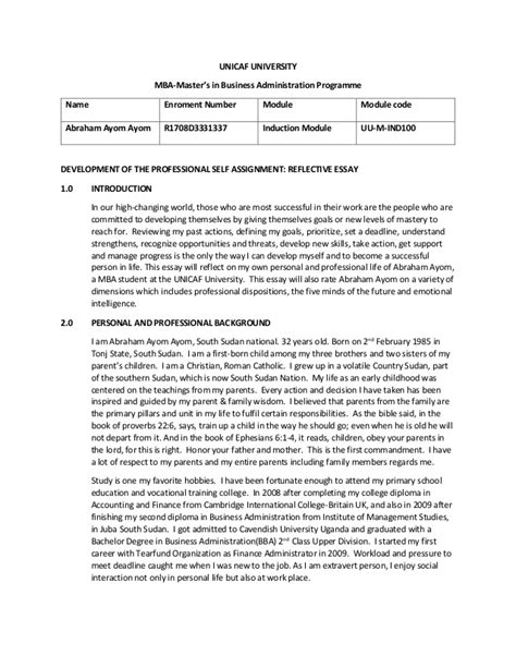 Mba Reflective Report by Reflective Essay Assesment For Abraham Ayom Mba Unicaf