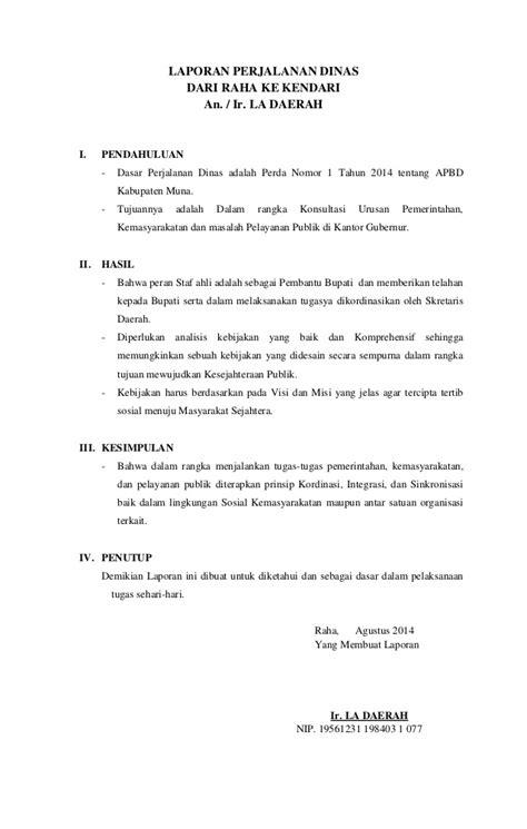 Contoh Surat Perjalanan Dinas by Contoh Format Laporan Perjalanan Dinas Pns Contoh Sur
