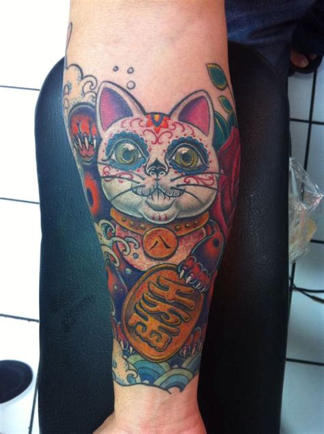 lucky cat tattoo lucky cat new by