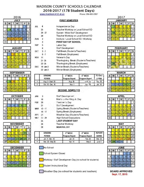calendars for to make in school 2016 2017 school calendar central school huntsville al