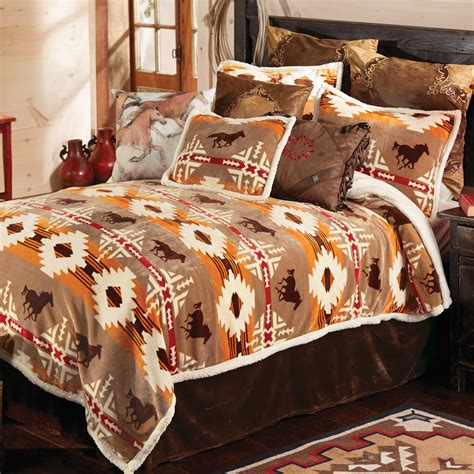 western bedding sets king size running  horse bed set