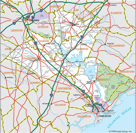 printable road map of sc santee cooper country sc map