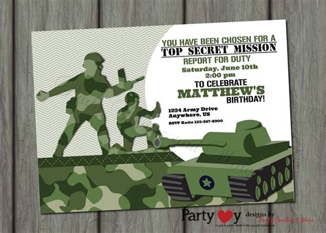 camouflage invitation template free printable birthday invitations