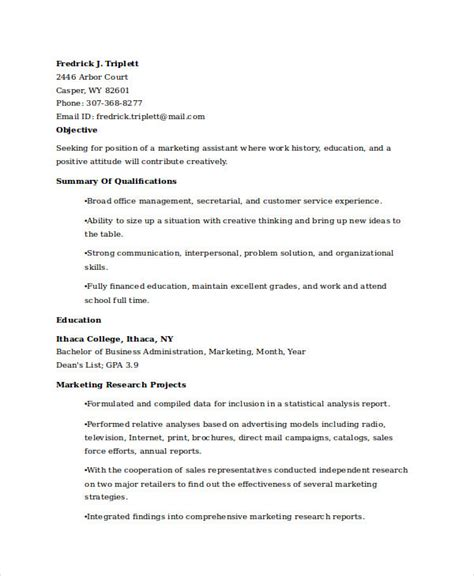 resume objective for marketing graduate 28 images doc