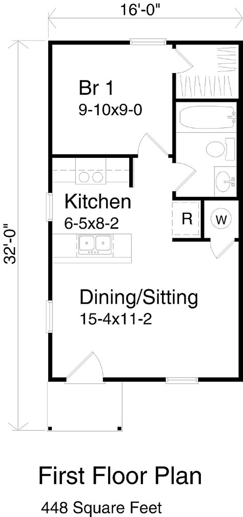 1 bedroom cottage floor plans cottage style house plan 1 beds 1 baths 448 sq ft plan 22 126