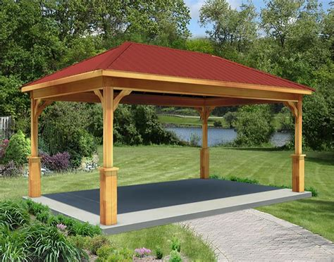 Backyard Creations Steel Roof Gazebo Cedar Single Roof Open Rectangle Gazebos With Metal