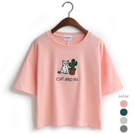 Be Gentle At Me Printed Tees aliexpress buy cat and me letter printed with cactus t shirt embroidered collar