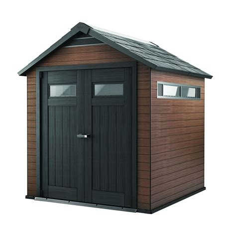 keter sheds keter fusion 7 5 ft x 7 ft wood and plastic composite shed 219882 the home depot