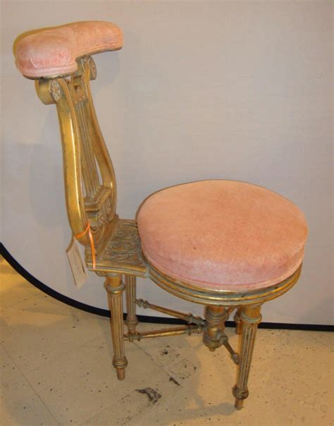 Harp Stools by Adjustable Lyre Gold Harp Piano Chair For Sale