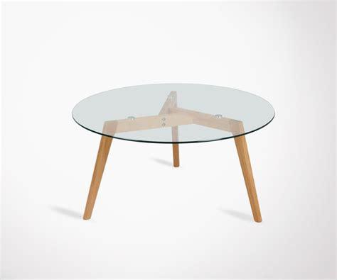 table basse ronde verre et bois table basse 80cm ronde plateau verre pieds bois style