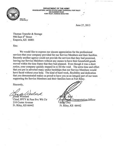 appreciation letter for provided transfer recognized for relocating fort